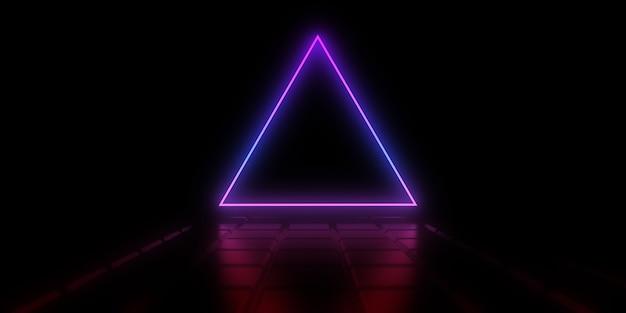 Abstracte achtergrond met neon driehoek