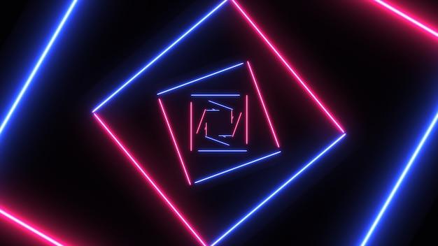 Abstracte achtergrond met neonvierkanten met lichte lijnen die zich snel bewegen.