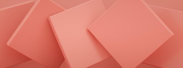 Abstracte achtergrond met roze geometrische vormen, 3d render, panoramisch beeld