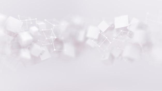 Abstracte achtergrond met vliegende kubussen. 3d-afbeelding, 3d-rendering.