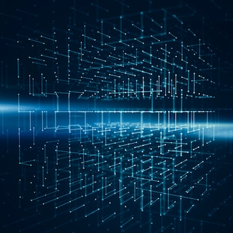 Abstracte achtergrond met wireframe van transparantiekubus