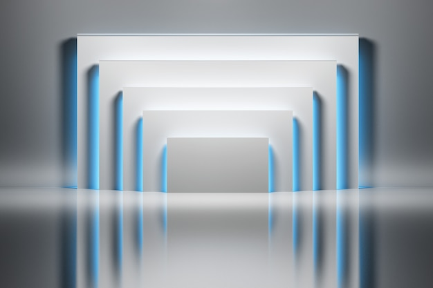 Abstracte achtergrond met witte die rechthoeken door blauw gloeiend licht over glanzende weerspiegelende oppervlakte worden verlicht.