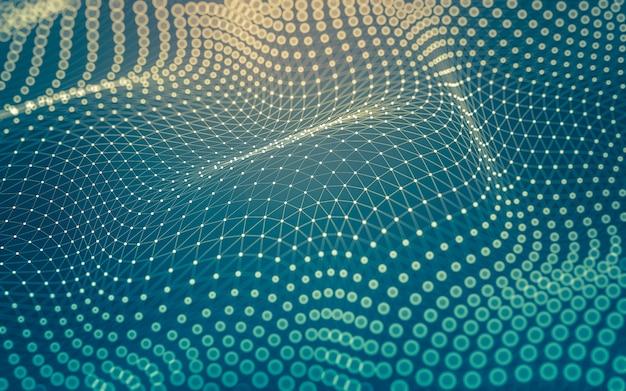 Abstracte achtergrond. moleculentechnologie met veelhoekige vormen, verbindende punten en lijnen. verbindingsstructuur. big data visualisatie.