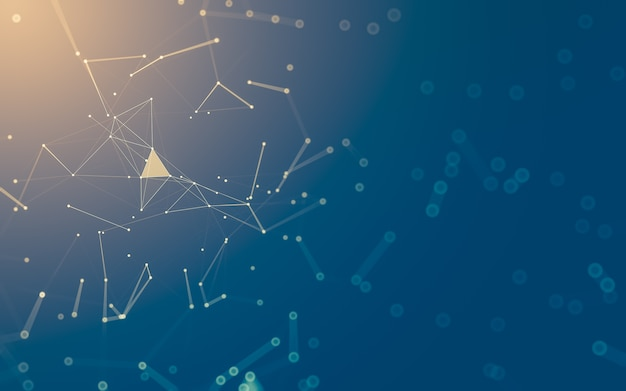 Abstracte achtergrond. moleculentechnologie met veelhoekige vormen, verbindende punten en lijnen.