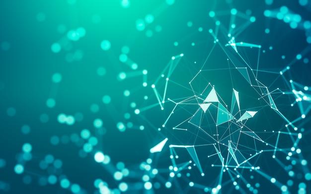 Abstracte achtergrond. molecuultechnologie met veelhoekige vormen, verbindende punten en lijnen. verbindingsstructuur. visualisatie van big data.