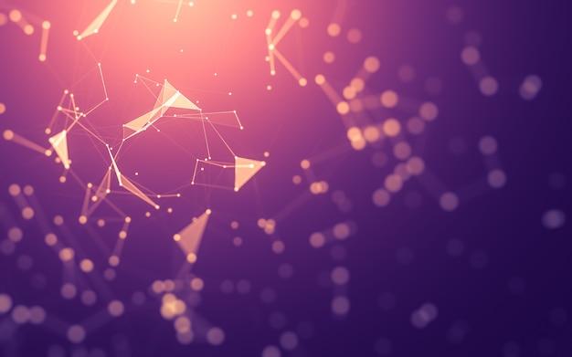 Abstracte achtergrond. molecuultechnologie met veelhoekige vormen, verbindende punten en lijnen.