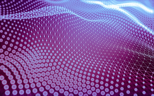 Abstracte achtergrond. molecuultechnologie met veelhoekige vormen, verbindende punten en lijnen