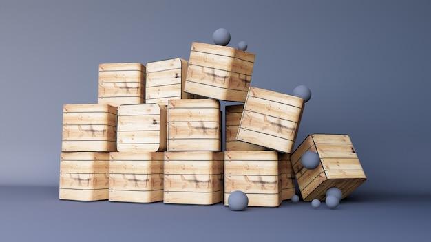 Abstracte achtergrond of voetstukvertoning op zwarte achtergrond met het abstracte concept van de doos houten tribune