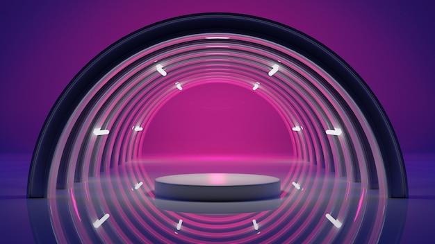 Abstracte achtergrond podium en ruimte kleurrijke verlichting, 3d-rendering