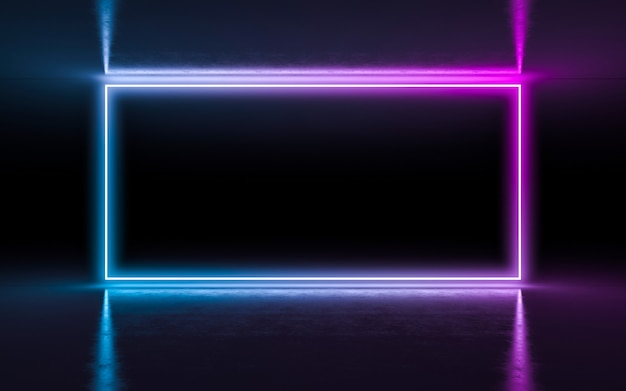 Abstracte achtergrond purpere en blauwe neon gloeiende lichten in lege donkere ruimte met bezinning.