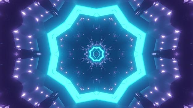 Abstracte achtergrond van caleidoscopische eindeloze tunnel met gloeiend blauw neonlicht