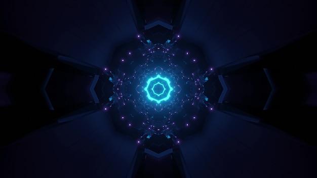 Abstracte achtergrond van donkere cirkelvormige futuristische tunnel die met blauw licht gloeit