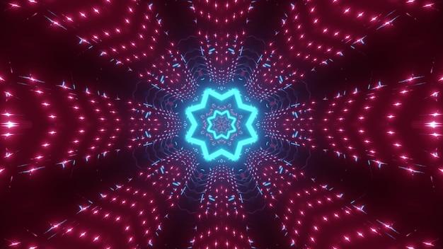 Abstracte achtergrond van eindeloze stervormige tunnel verlicht door heldere blauwe en roze lichten