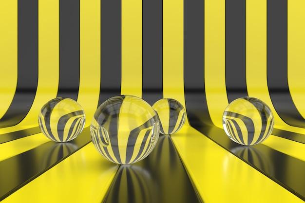 Abstracte achtergrond van gele en zwarte strepen. 3d behangontwerp. 3d-weergave.