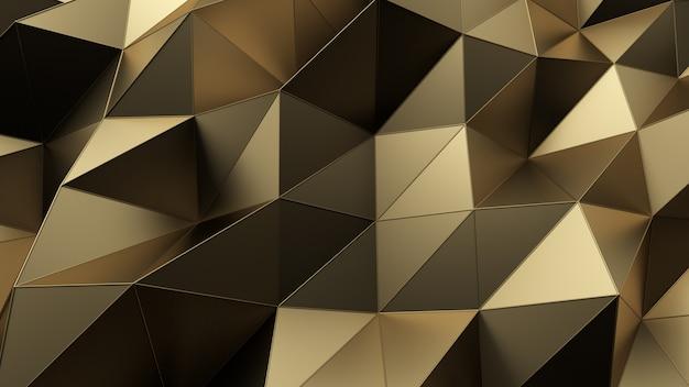 Abstracte achtergrond van geometrische gouden oppervlak. computer gegenereerde lusanimatie. moderne achtergrond met veelhoekige vorm. 3d-afbeelding beweging ontwerp voor poster, cover, branding, banner.