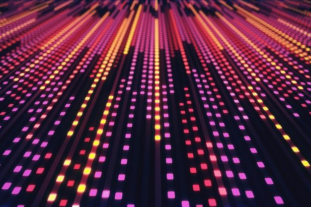 Abstracte achtergrond van gloeiende neonvierkanten