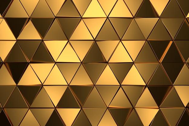Abstracte achtergrond van gouden driehoek. 3d-weergave.