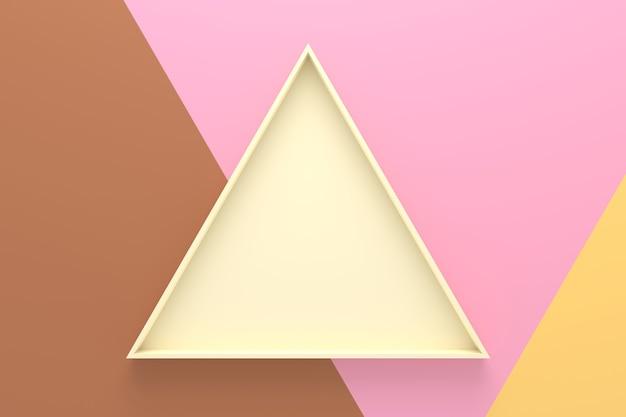 Abstracte achtergrond van het dienblad van de driehoeksvorm. 3d-weergave.