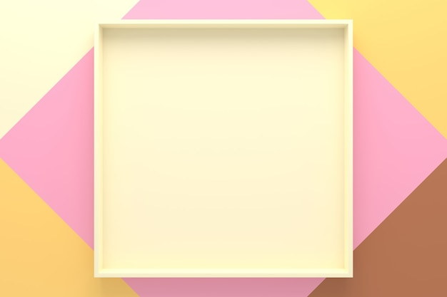 Abstracte achtergrond van het dienblad van de rechthoekvorm. 3d-weergave.