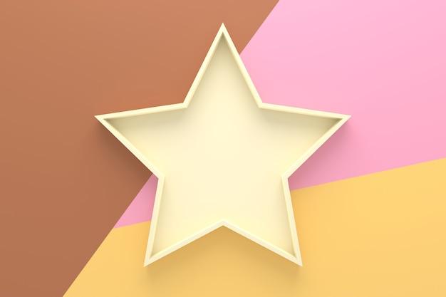 Abstracte achtergrond van het dienblad van de stervorm. 3d-weergave.