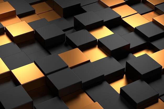 Abstracte achtergrond van kubus met luxeconcepten. 3d-weergave.