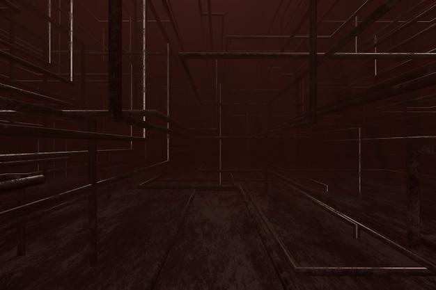 Abstracte achtergrond van metalen pijp. 3d-weergave.