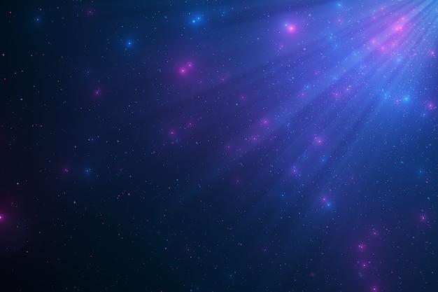 Abstracte achtergrond van sprankelende zwevende blauwe stofdeeltjes