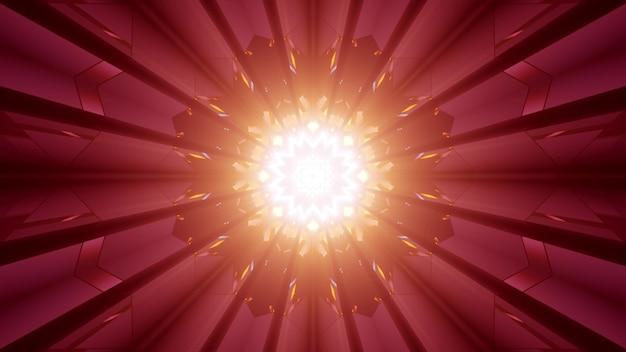 Abstracte achtergrond van stervormige tunnel verlicht door rood neonlicht