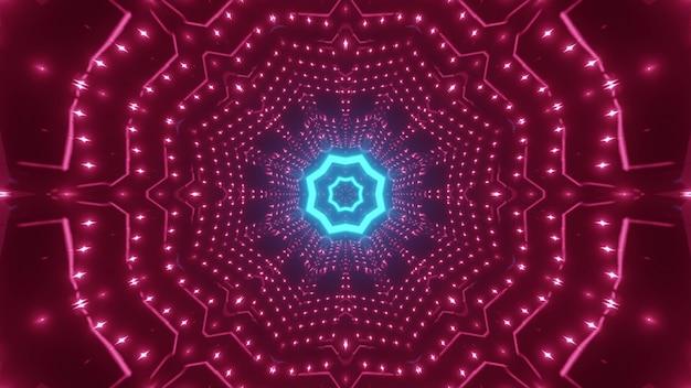 Abstracte achtergrond van symmetrische geometrische gang met roze en blauwe neonlichten