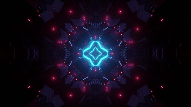Abstracte achtergrond van symmetrische tunnel met bakstenen die door roze en blauwe neonlichten gloeien