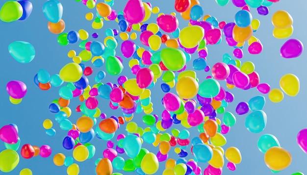 Abstracte achtergrond van vele full colour ballonnen vliegen naar een lichtblauwe hemel