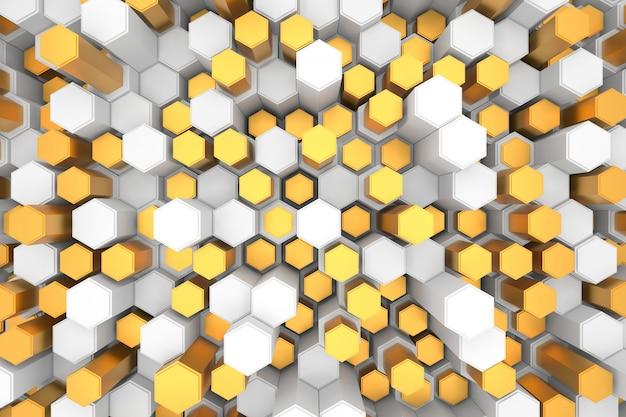 Abstracte achtergrond van zeshoek. 3d-weergave.