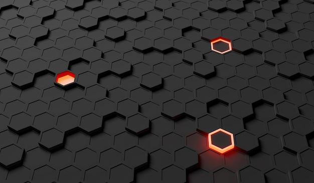 Abstracte achtergrond van zwarte zeshoeken met willekeurig verlichte degenen. 3d-weergave