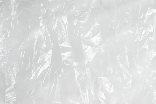 Abstracte achtergrond verfrommelde plastic film textuur witte vuilniszak