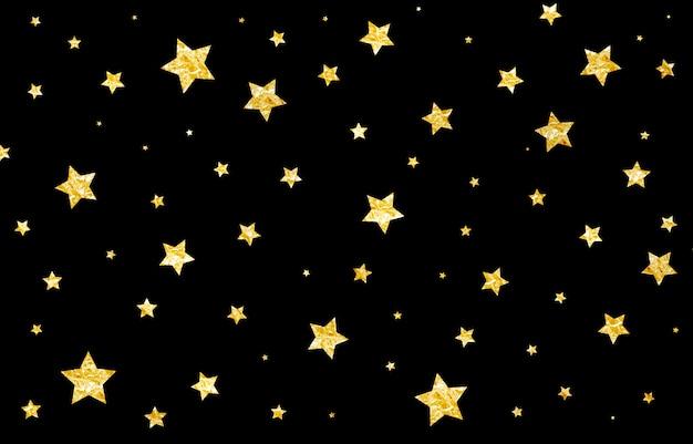 Abstracte achtergrond zwart, kerstmis, glitter, goud, vallende sterren van goudfolie, feest
