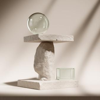 Abstracte achtergrondscène voor cosmetische product- en pakketpresentatie, stenen podiumdisplay, 3d-rendering.