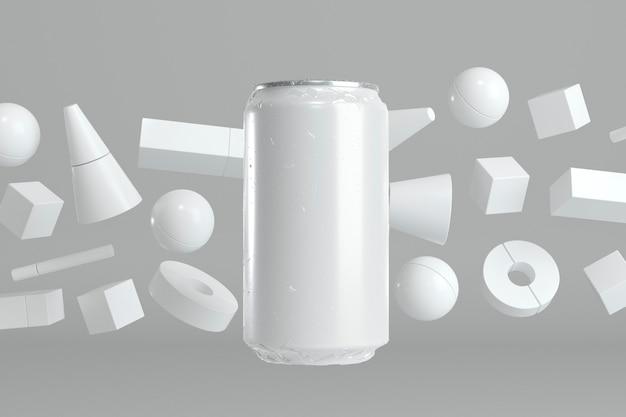 Abstracte aluminium frisdrankblikje presentatie