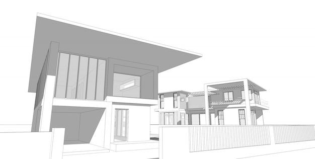 Abstracte architecturale tekeningsschets, illustratie