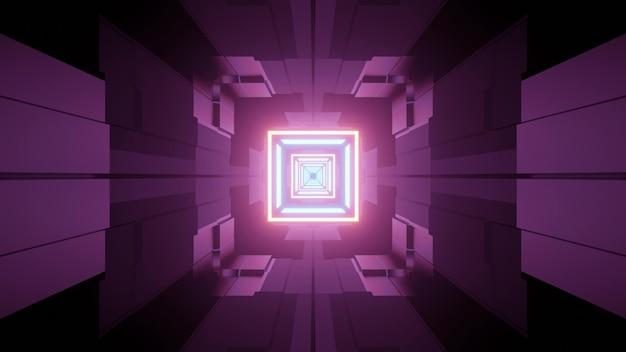 Abstracte architectuur futuristische stijl 3d illustratie van ondergrondse gang met geometrische vormen en gloeiende neonlijnen