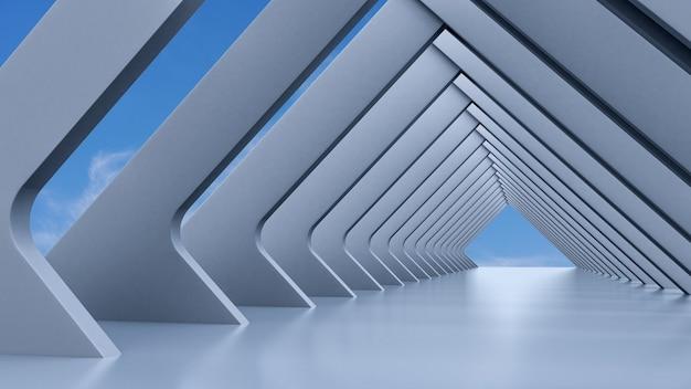 Abstracte architectuur, leeg wit futuristisch interieur en blauwe lucht op een achtergrond, 3d illustratie