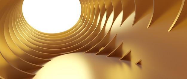 Abstracte architectuurachtergrond. 3d-afbeelding van gouden circulaire gebouw.