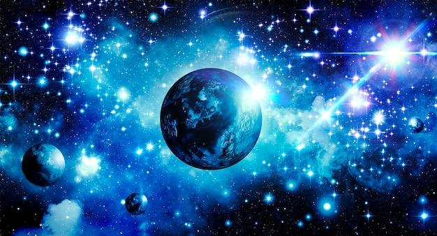 Abstracte astronomische achtergrond blauwe sterrenhemel met planeten en stralende heldere ster