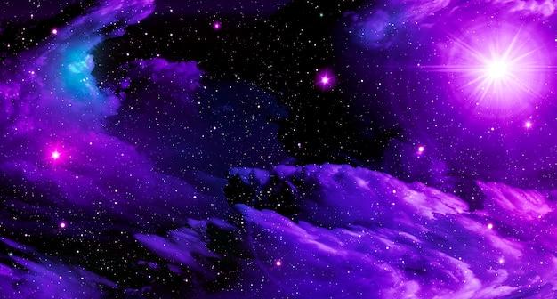 Abstracte astronomische paarse wolken op zwarte heldere kosmische ster lichte melkweg
