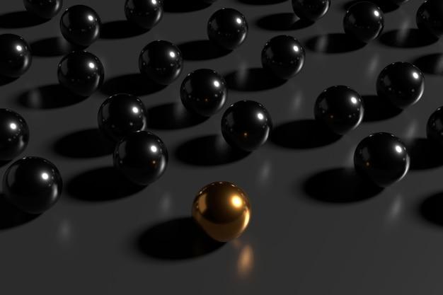 Abstracte ballen met leidersconcepten. 3d-weergave.