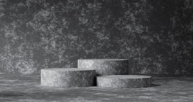 Abstracte betonnen textuur product achtergrond en lege minimale moderne presentatie van stenen muur of podium voetstuk display platform sjabloon behang achtergronden met interieur blanco stand. 3d render.