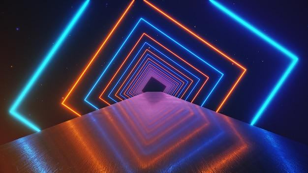 Abstracte beweging geometrische achtergrond, gloeiende neon vierkanten die een roterende tunnel creëren, blauw roze paars spectrum, fluorescerend ultraviolet licht, moderne kleurrijke verlichting, 3d illustratie