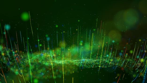 Abstracte bewegingsachtergrond glanzende groene en kleurrijke stofdeeltjes gloeien, zwaaien en groeien op.