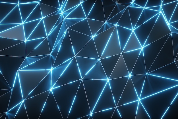 Abstracte bewegingsachtergrond. laag poly donker golvend oppervlak met gloeiend blauw licht. 3d-afbeelding