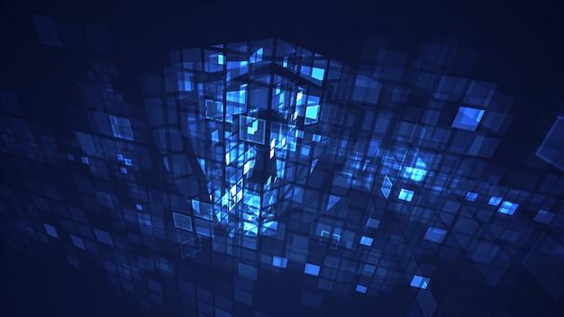 Abstracte blauwe cyber digitale technologie grafische achtergrond