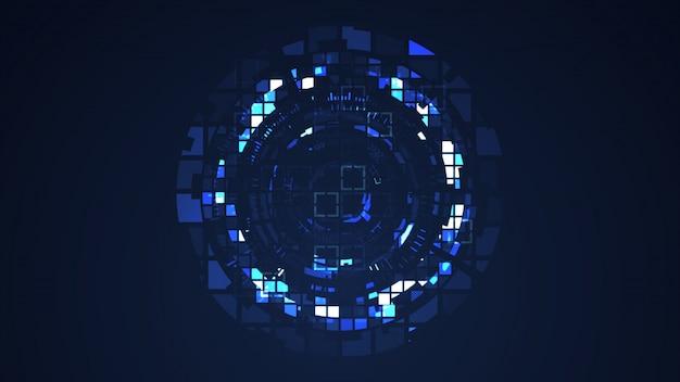 Abstracte blauwe cyber grafische illustratie van de cirkel de digitale technologie